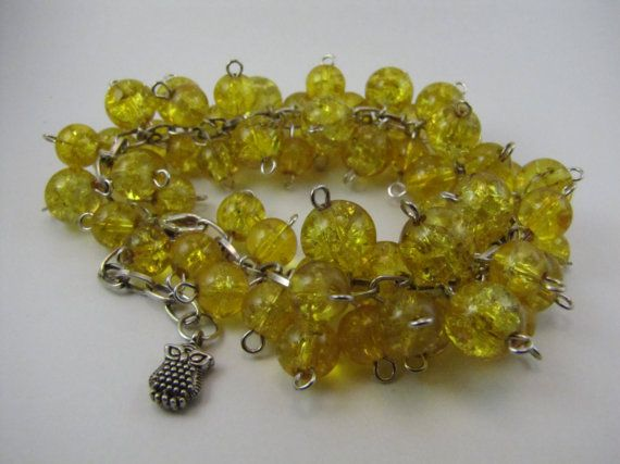 Yellow Owl Charmed Beadburst Bracelet by BranchingHope on Etsy