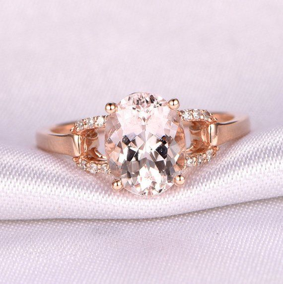 bc53c63d911d1 Pink Morganite Engagement Ring 14k Rose Gold 8x10mm Oval Cut Pink ...