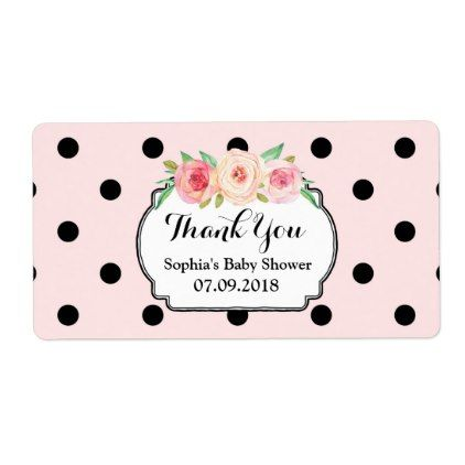 Blush Pink Black Dots Floral Baby Shower Labels - baby gifts child new born gift idea diy cyo special unique design