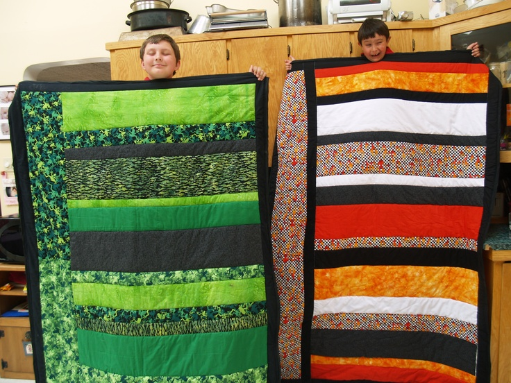 The quilts I made for my boys! <3