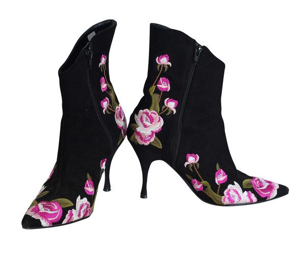 Beverly Feldman Black Booties with Pink Floral Embroidery SZ8 NOW: $125.00