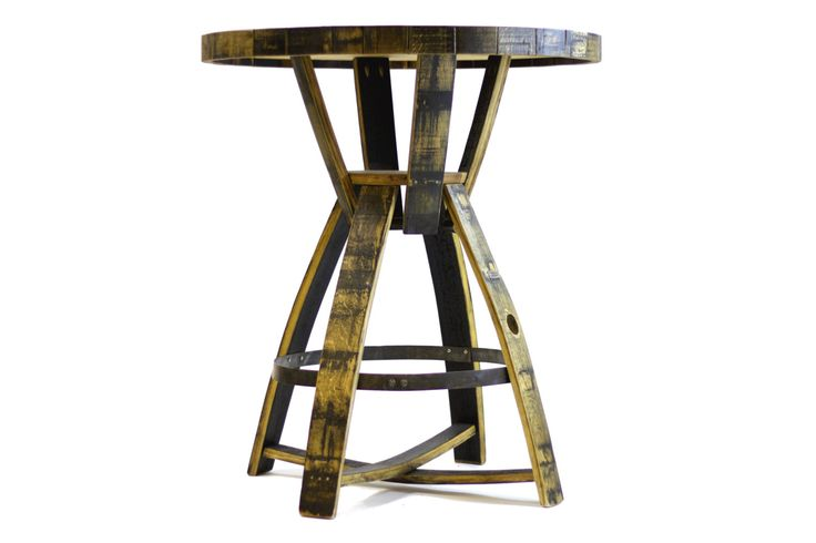 Bourbon Barrel Pub Table ( Round, black, brown, bar table) by HungarianWorkshop on Etsy https://www.etsy.com/listing/197109250/bourbon-barrel-pub-table-round-black