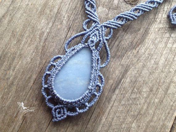Macrame mermaid necklace Chalcedony stone by creationsmariposa