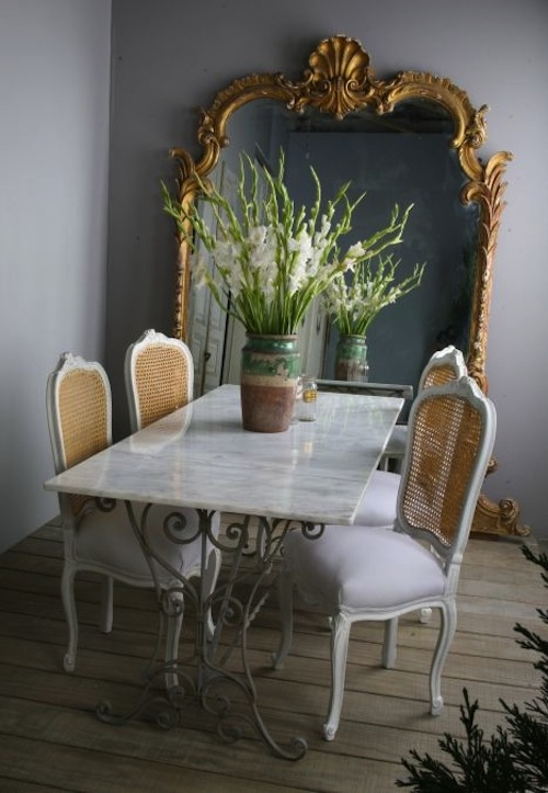 antique dining table: love the table AND chairs diningroom canechairs gold french STUNNING