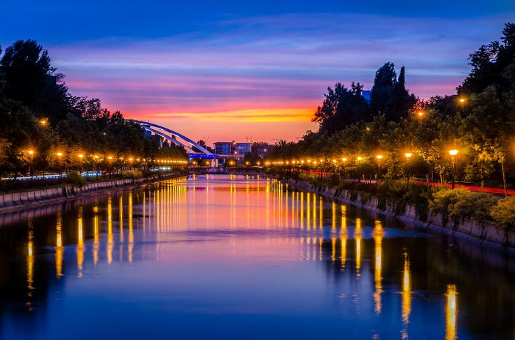 Sunset on Dambovita River in Bucharest