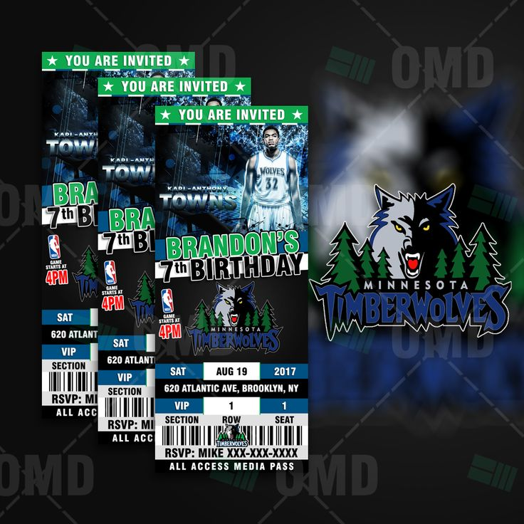 Minnesota Timberwolves Ticket Style Sports Party Invite