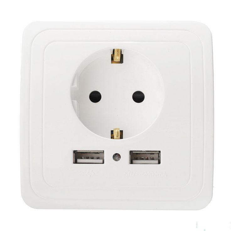 Chaude Double USB Port 5 V 2A Électrique Mur Chargeur Adaptateur UE Plug Socket Commutateur Power Dock Station De Charge Sortie panneau