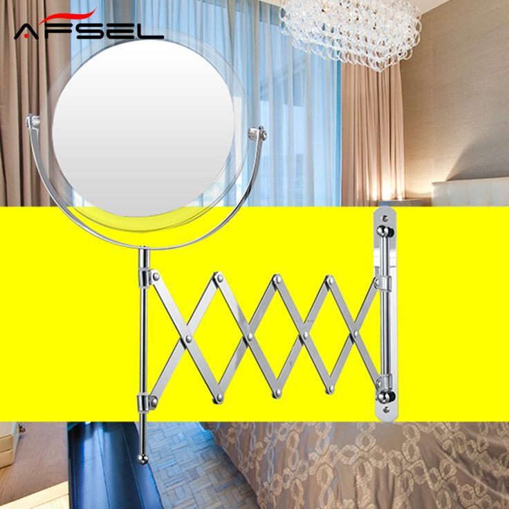 AFSEL 7 Inch Cosmetic Mirror Double Sides 2X Magnification Makeup Mirror Wall Mounted Mirror Chrome Bathroom Folding Mirror