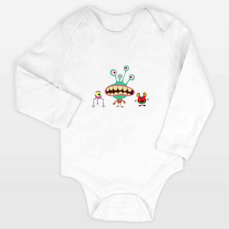 Shop for unique nursery art like the Little monsters Long-Sleeve Onesies by haroulita on BoomBoomPrints today!  Customize colors, style and design to make the artwork in your baby's room their own!