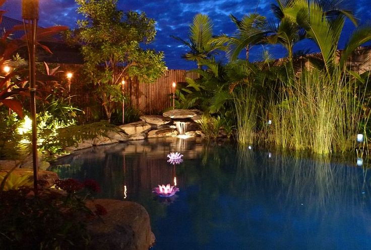 Brilliant LED Lighting turns the small natural pool into a magical setting by Placid Pools