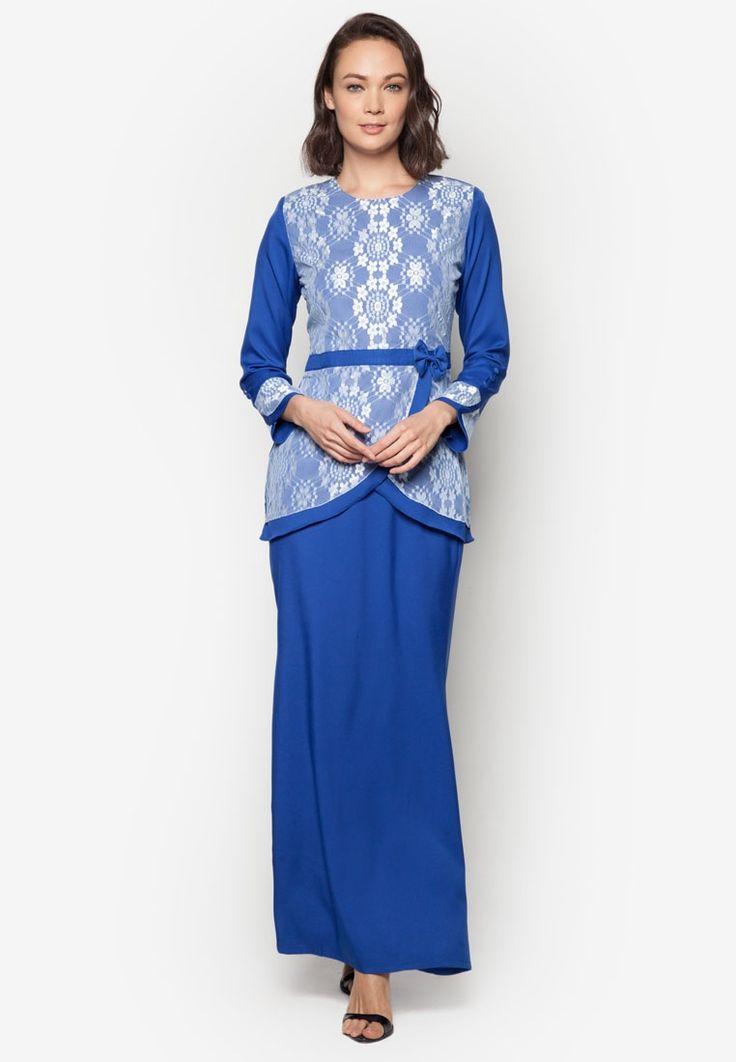 Baju Kurung Modern from Gene Martino in blue_1