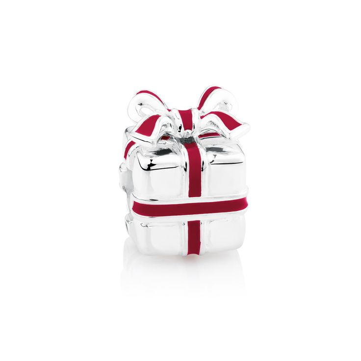Sterling silver & enamel present charm. Exclusive to Emma & Roe.