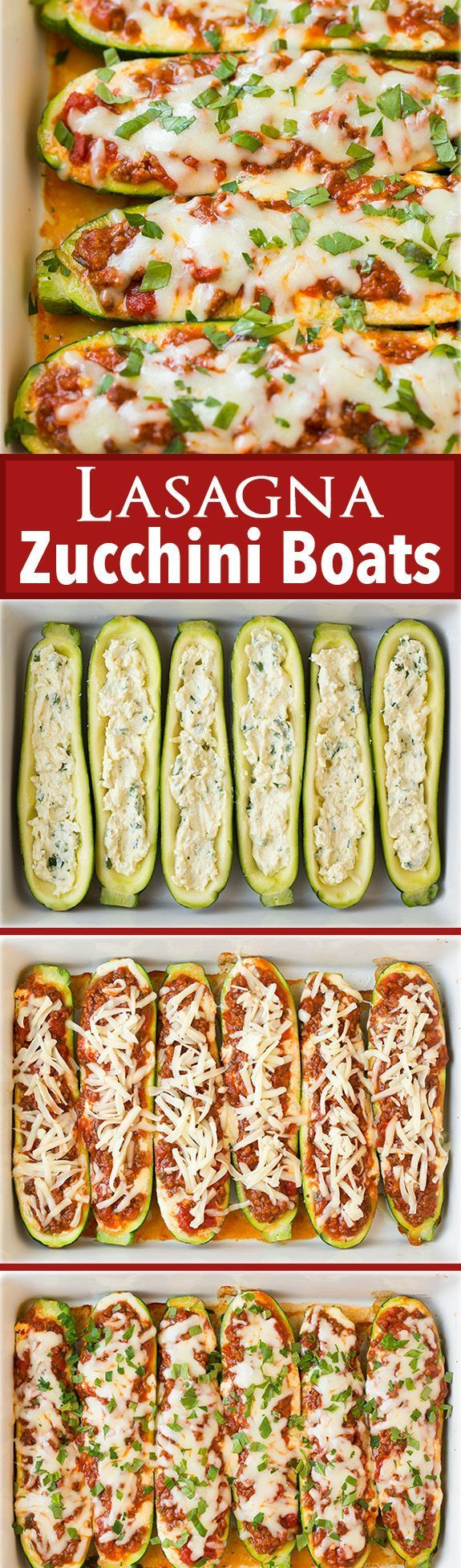 Lasagna Zucchini Boats - these are AMAZING!! Just as good as regular lasagna but healthier!