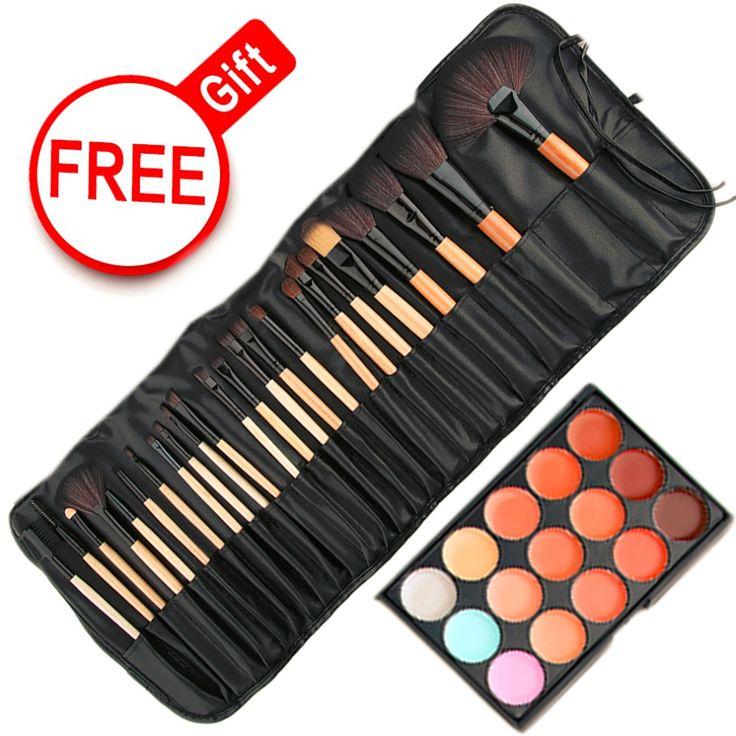 Maquillaje Set 15 Colores de Maquillaje Corrector maquillaje Platte Base y 24 unids Pro Pinceles de Maquillaje Kit Cosmético Esponja Puff herramienta
