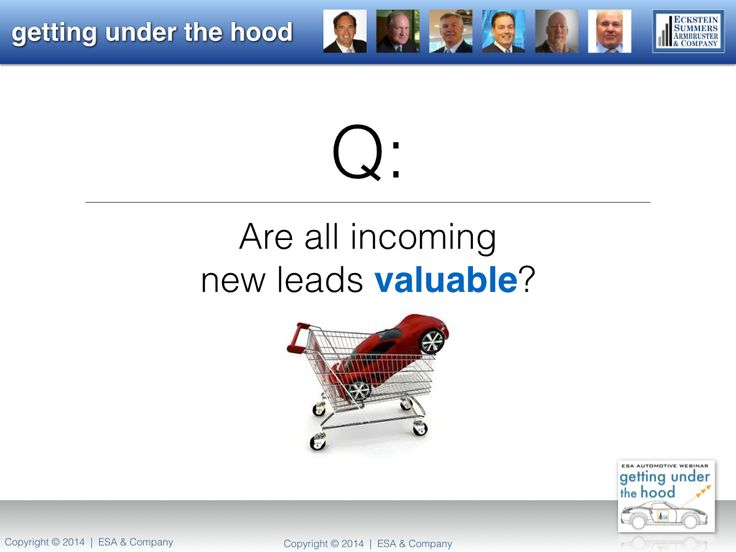 "Are all incoming leads truly valuable? Tune-in to ESA's Automotive Webinar, ""Getting Under the Hood.""  October 24, 2014."