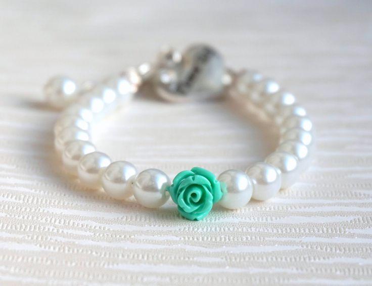 Flower girl gift, White and Mint Flower Girl Bracelet, Wedding Jewelry, Mint Flower Bracelet, White Pearl, Rhinestone, Bracelet Flower Girl by LaurinWedding on Etsy https://www.etsy.com/listing/229557520/flower-girl-gift-white-and-mint-flower
