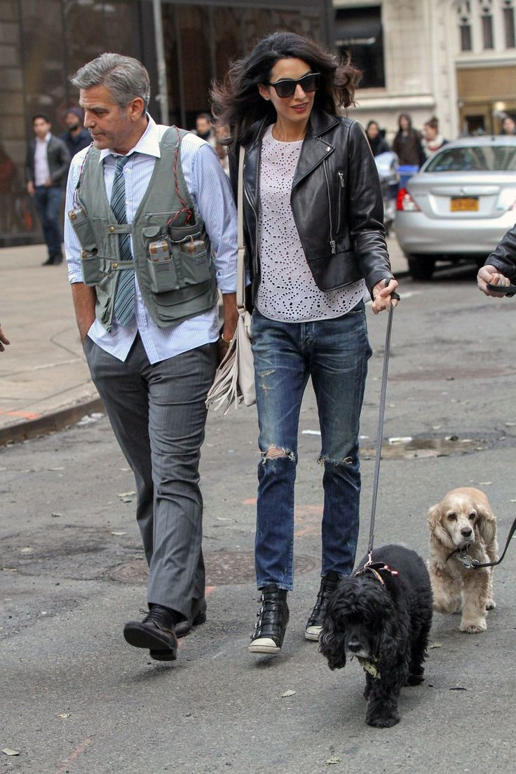 She chose Citizens of Humanity jeans, a Balenciaga biker jacket and Ash Thelma wedge sneakers for a walk in New York with her husband.