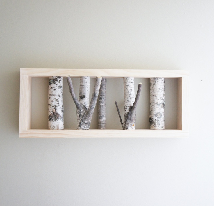 natural white birch forest wall art. looks like something very similar I did with shadow boxes