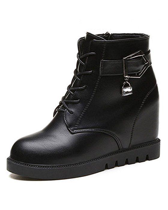 Minetom Mujer Otoño Invierno Cordones Martin Boots Talón De Cuña Botas Altura Creciente Zapatos Botas Negro EU 37
