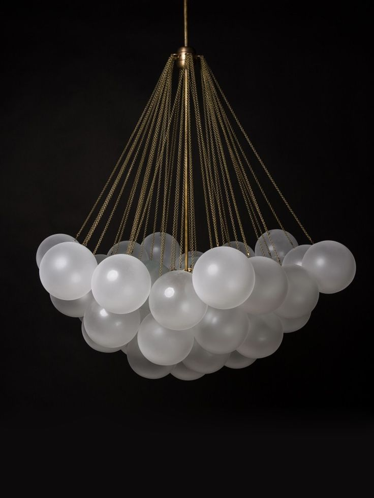 """""""Glass orbs are frosted by hand to create an irregular texture reminiscent of 19th century frosting techniques. Central light sources emit a soft glow that is refracted through the surrounding cluster of orbs."""""""