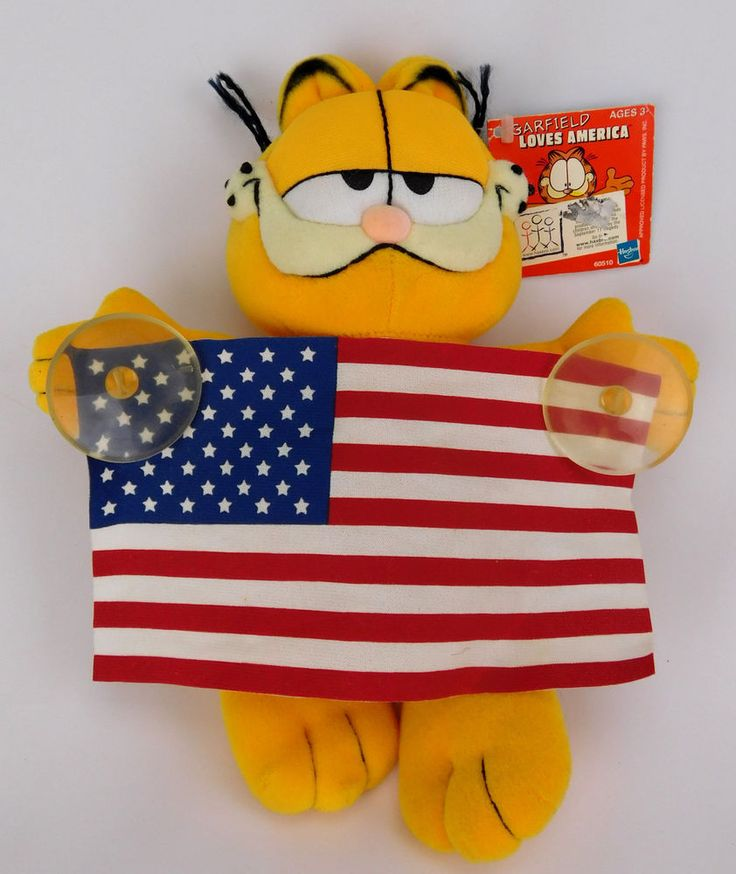 Garfield Loves America Plush Animal Toy Car Window Suction Cup Clinging Flag tag #Garfield