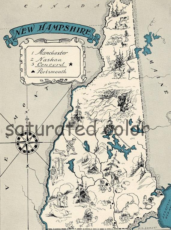 New Hampshire Map 1931 ORIGINAL Vintage Picture Map - Antique