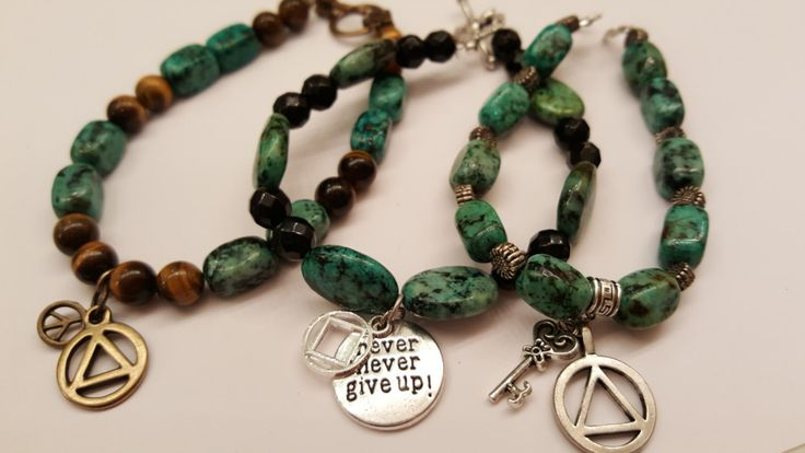 ... bracelet with recovery charm--Alcoholics Anonymous, sobriety, recovery