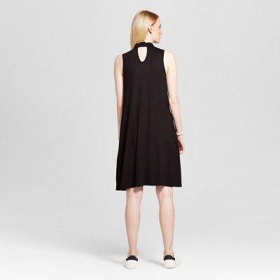 Women's Choker Neck Double Keyhole Tank Dress - Como Black - Black XL