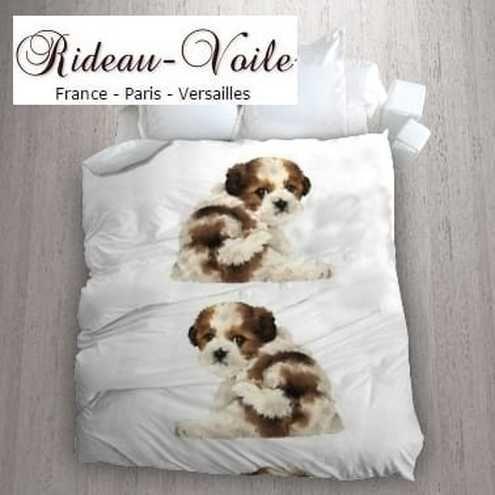 housse de couette sur mesure avec motif tissu chien toutou chiots housse rideau coussin. Black Bedroom Furniture Sets. Home Design Ideas