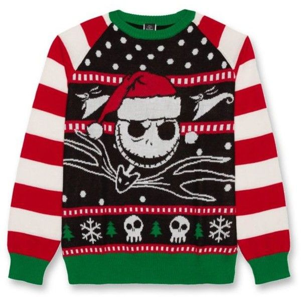 Hybrid  Black The Nightmare Before Christmas8482 Jack Sweater ($33) ❤ liked on Polyvore featuring men's fashion, men's clothing, men's sweaters, black and mens christmas sweaters