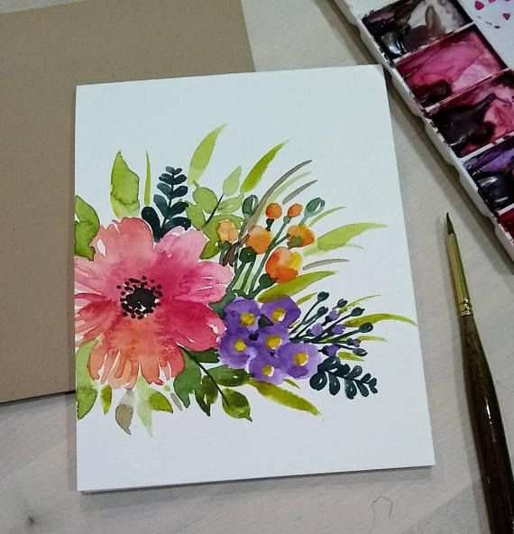 Set Of 3 Original Hand Painted Watercolor Color Flower Bunch