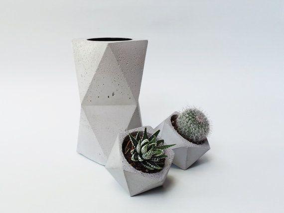 Set of 3: concrete vase & two concrete planters. Geometric concrete vase…
