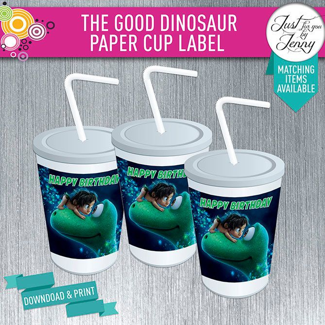 THE GOOD DINOSAUR cup stickers/Labels- Digial download by JustForYouByJenny on Etsy