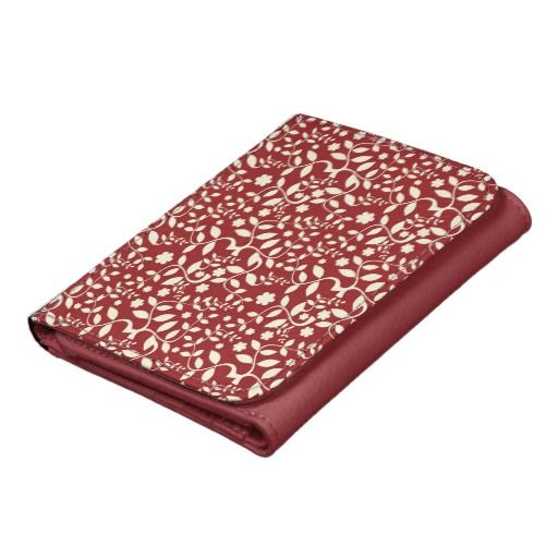 Abstract Red and White Floral wallet