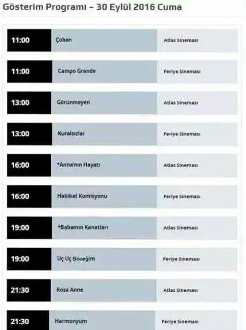 6. Uluslararası Suç ve Ceza Film Festivali ilk gün 30 Eylül Programı