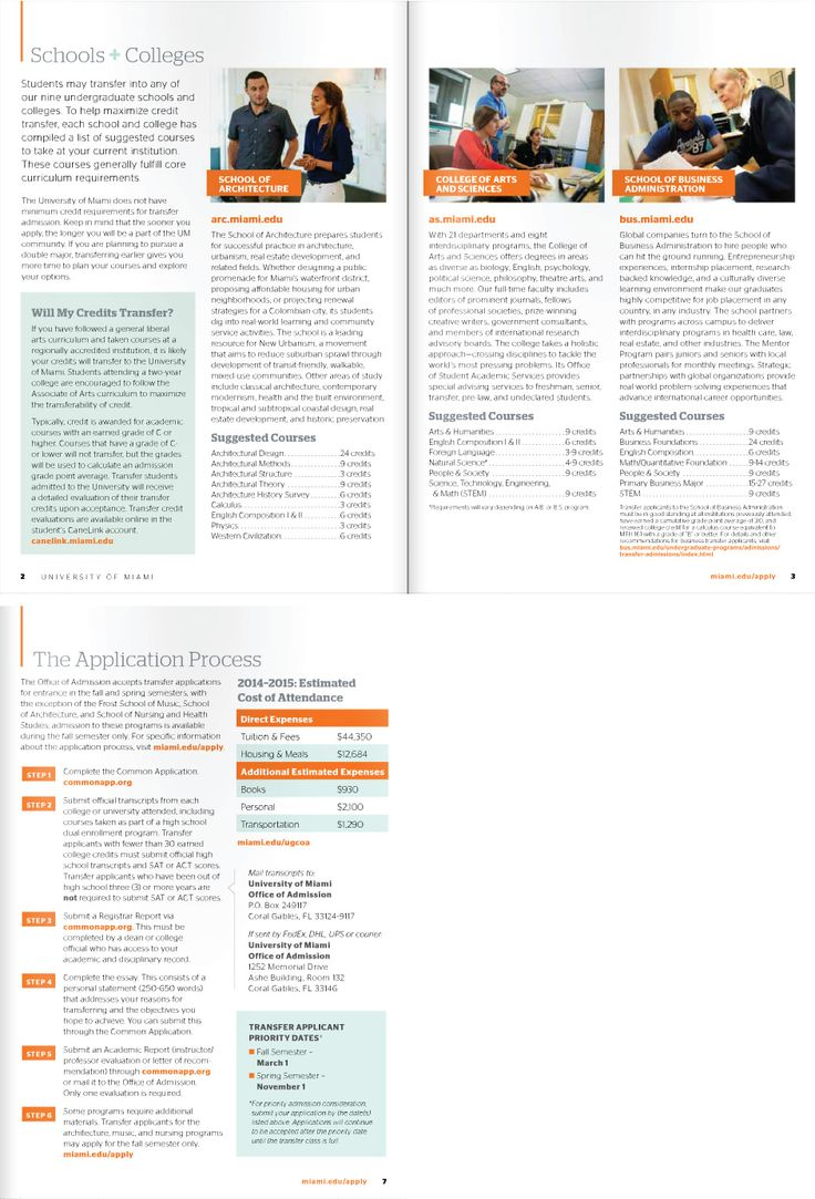 University of Miami - Admissions Transfer Brochure