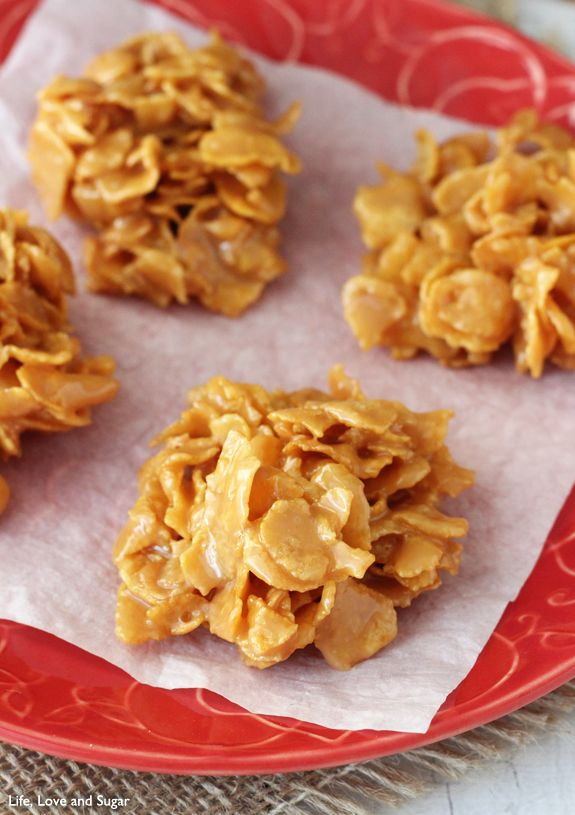 Corn Flake Caramel Clusters - Similar to Mom's recipe, plus I add 1 cup of coconut and 1 cup of chopped walnuts. Makes about 50.
