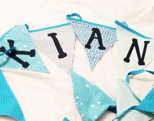 Bunting, personalised with baby or child's name in choice of blue tones or pink tones