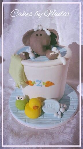 Elephant in a Bucket Baby Shower Cake from Cakes by Nadia, Bloemfontein South Africa. This little cake was made with Chocolate Fudge Cake and filled with Whipped Chocolate Ganache.