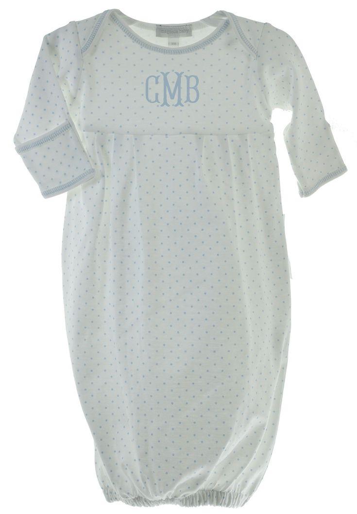 Magnolia Baby Boys Blue Take Home Gown Mini Stripe