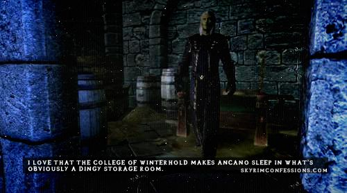 skyrim+ondolemar | love that the College of Winterhold makes Ancano sleep in what's ...