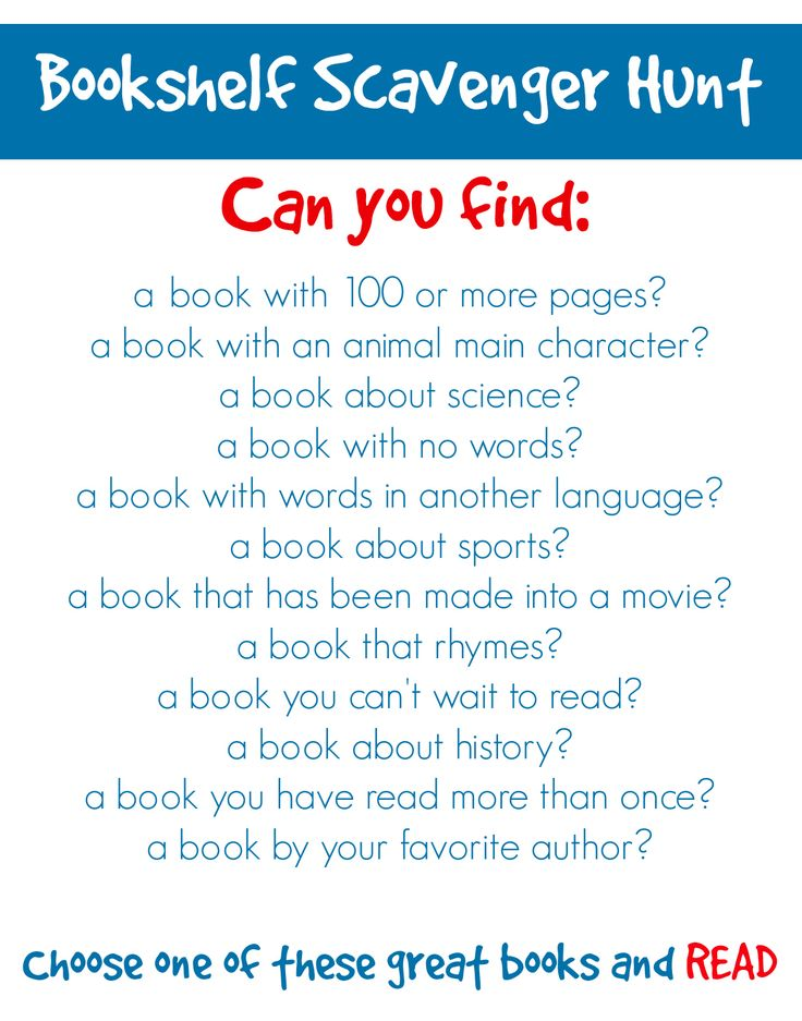 Challenge Kids to a Bookshelf Scavenger Hunt -Repinned by Totetude.com