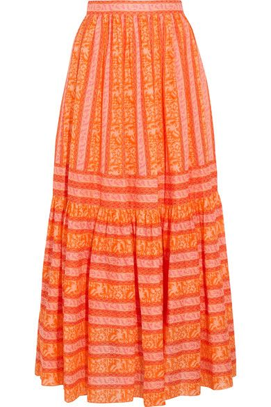 Tory Burch - Tiered Printed Cotton-poplin Maxi Skirt - Orange - US