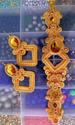 beautiful Soutache bracelet and earrings