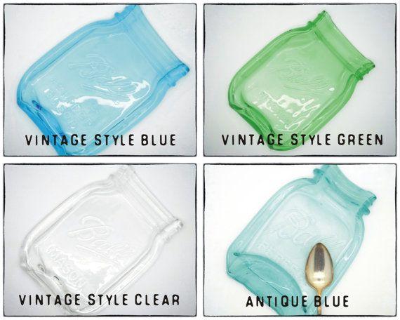 Melted Vintage style Mason Jar Spoonrest Blue by RedBarnVintages