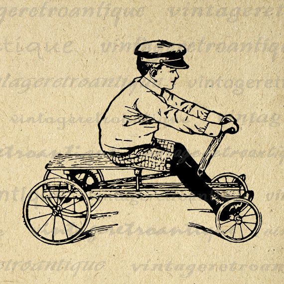 Old Fashioned Boy with Toy Car Digital Printable Graphic Childrens Wagon Image Download Antique Clip Art Jpg Png Eps 18x18 HQ 300dpi No.1793 @ vintageretroantique.etsy.com #DigitalArt #Printable #Art #VintageRetroAntique #Digital #Clipart #Download