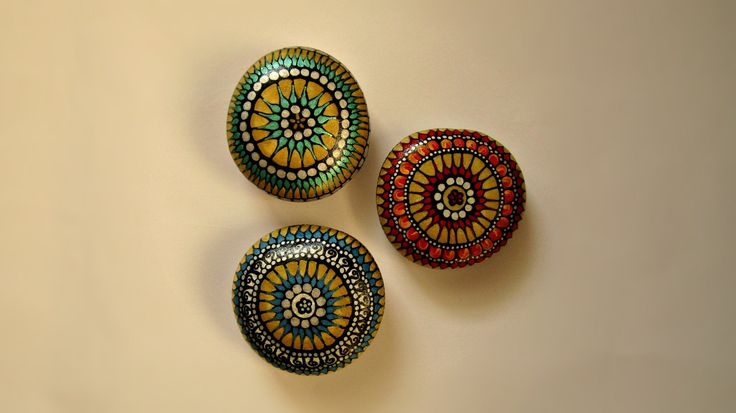 Mandala rocks art, gift sets for women, small gifts for women, gift set for her, office supplies for women, office supply set, paper weight by TheLuckyStones on Etsy