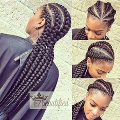 Her braids ----- > they are so very nice and neat! LOVE it!!! The stylist did a great job!!