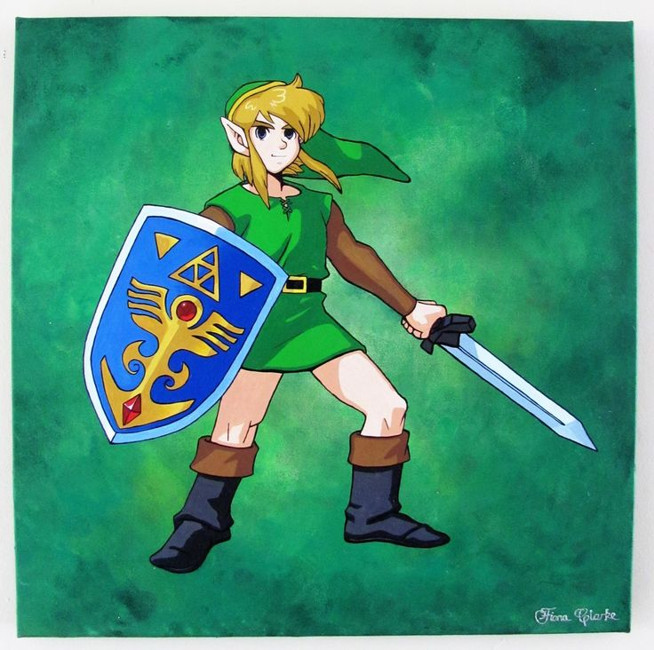 Legend of Zelda - A Link to the past acrylic painting- done  with a sponged background