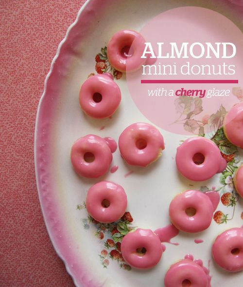 Almond mini donuts with cherry glaze...shall we say my next baked donut recipe, oh yeah!!!